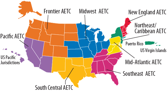 map of regional AETCs showing 8 different geographic regions