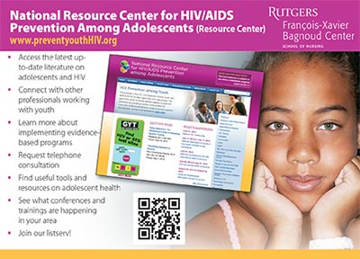 screen shot showing National Resource Center for HIV/AIDS Prevention Among Adolescents (Resource Center Postcard