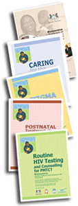 photo of Botswana PMTCT Training Series books, showing 5 different modules in the training series.