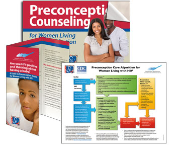 illustration showing three samples of Toolkit: algorithm, trifold patient brochure and Counseling Tool.