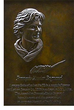 photo showing the bronze plaque of François-Xavier Bagnoud who was tragically killed in 1986.