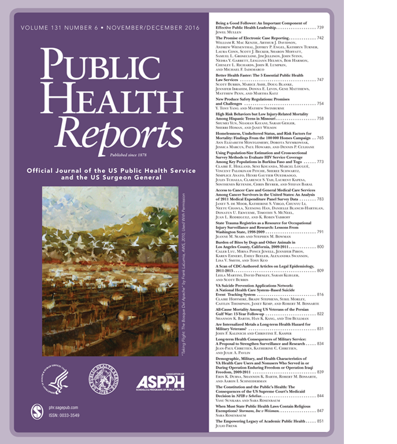 cover of December 2016 issue of Public Health Reports