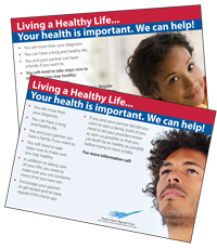 "Image showing both sides of preconception care post card. ""Living a Healthy Life...Your health is important. We can Help!"" Click here to download PDF"