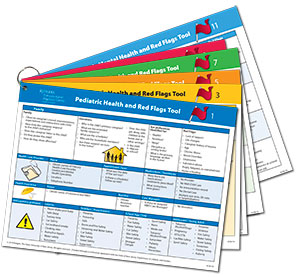 graphic showing ring bound pediatric red flag laminated cards